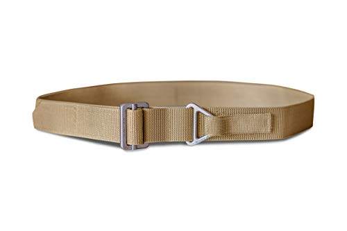 WOLF TACTICAL Everyday Rigger's Belt - Lightweight but Stiffened 1-Ply CQB Belt for EDC Emergency Rescue Concealed Carry CCW Outdoor Survival Wilderness Hunting (Tan, M (35-41))