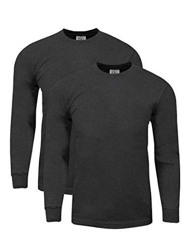 Shaka Wear MHL21_XL Max Heavy Weight Cotton Long Sleeve T-Shirt Charcoal Grey 1X 2pk
