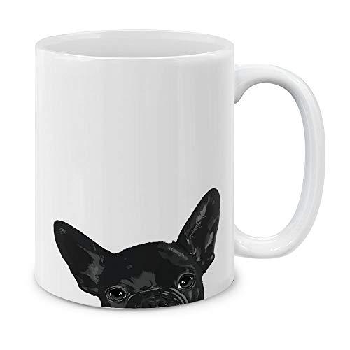 MUGBREW French Bulldog Puppy Dog Black Ceramic Coffee Gift Mug Tea Cup, 11 OZ