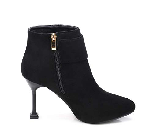 SHANGWU Ladies Womens High Heel Ankle Boots//Fashion Pointed Metal Buckle Stiletto High Heel Short Boots Handmade for Wedding Party Dress Boots