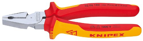 Knipex 0206180 7 Inch High Leverage Combination Pliers with 1,000V Insulated Handles ()