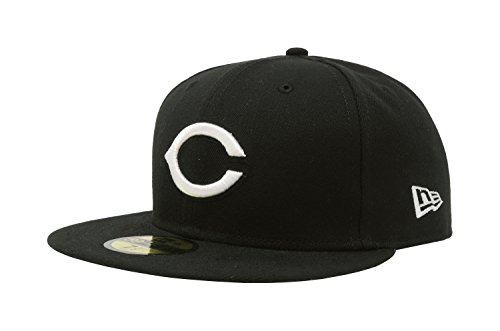 MLB Cincinnati Reds Black with White 59FIFTY Fitted Cap, 7 5/8