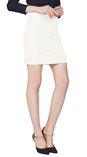 Urban CoCo Women's Elastic Waist Stretch Bodycon Midi Pencil Skirt (XL, White-Short)