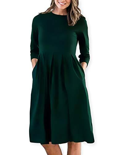 - AOOKSMERY Women Casual Cotton Mid Pleat Dress 3/4 Sleeve O-Neck Dresses with Pocket (Dark Green, Medium)