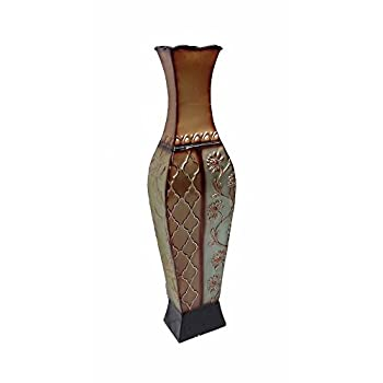DLusso Designs 24 Inch Francesca Design Metal Floor Vase