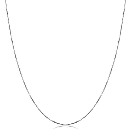 Venetian Necklace Gold 10k Box (10k White Gold Venetian Box Chain Necklace (0.5mm, 24 inch))