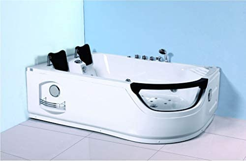SDI Factory Direct 2 Person Corner Hydrotherapy Whirlpool Bathtub Spa Massage Therapy Hot Bath Tub w Heater. LED Lights, Bluetooth, Remote Control – SYM634L