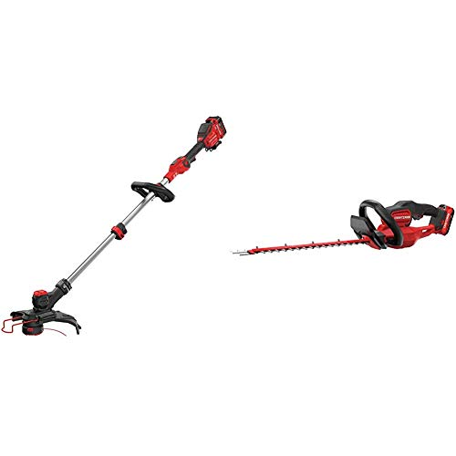 "CRAFTSMAN CMCST910M1 V20 MAX String Trimmer with CMCHTS820D1 V20 22"" Cordless Hedge Trimmer"
