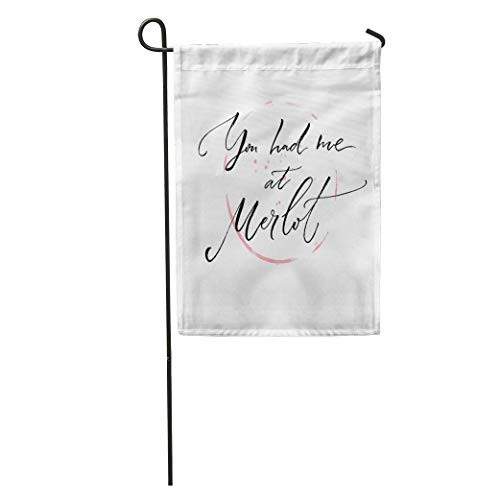 (Nfuquyamluggage Garden Flag You Had Me at Merlot Funny About Wine Modern Home Yard House Decor Barnner Outdoor Stand 12x18 Inches Flag)