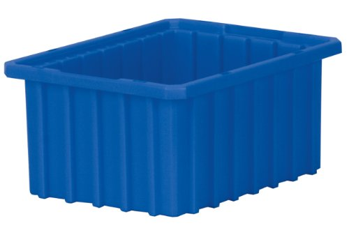 Akro-Mils 33105 Akro-Grid Slotted Divider Plastic Tote Box, 10-7/8 -Inch Length by 8-1/4-Inch Width by 5-Inch Height, Case of 20, Blue