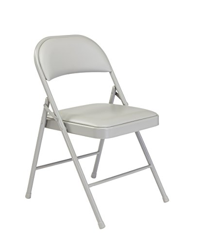 - Commercialine Vinyl Padded Steel Folding Chair, Grey (Pack of 4)