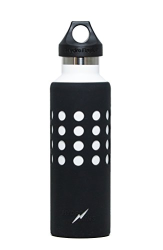 Hydroskins Water Bottle Silicone Sleeve for Hydro Flask, Takeya, ThermoFlask, Fifty/Fifty, Simple Modern,Protection and Grip (Black, 21 ounces)
