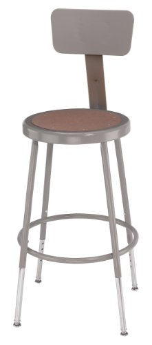 National Public Seating 6218HB Steel Stool with Hardboard Seat Adjustable and Backrest, 19
