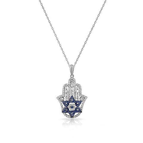 925 Sterling Silver Baguette White Blue CZ Star of David Hamsa Pendant Necklace (Star Of David Silver Pendant)