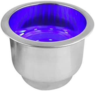 LIOOBO roestvrijstalen bekerhouder met ledlamp drinkflessenhouder rekplankstandaard voor maritieme boot camper camper camper camper blauw