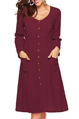 Long Neck Midi V burgundy Sleeve Pockets with Button Womens Skater A1 Down Dress Mathews Casual Sarin Dresses 4tnawYxPqt