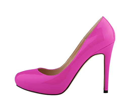 CAMSSOO Women's Classic Fashion Round Toe Slip On High Heel Wedding Party Court Pumps Shoes purple patent pu GGOiKl
