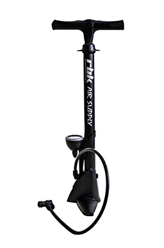 RBK Bike Floor Pump – Made With Reinforced Plastic Of The Highest Quality - Reversible Valve System For Presta & Schrader - Large Gauge Easy To Read Up To 160psi