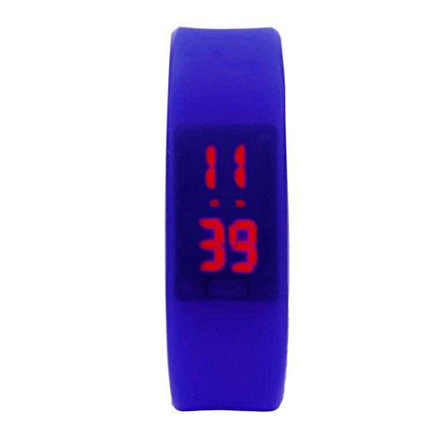 AmyDongWomens Mens Rubber LED Watch Date Sports Bracelet Digital Wrist Watch Fitness Tracker Waterproof Sprot Watch (Blue) (Date Watch Gmt)