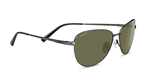 Serengeti Cosmopolitan Gloria Sunglasses Satin Dark Gunmetal, Green by Serengeti