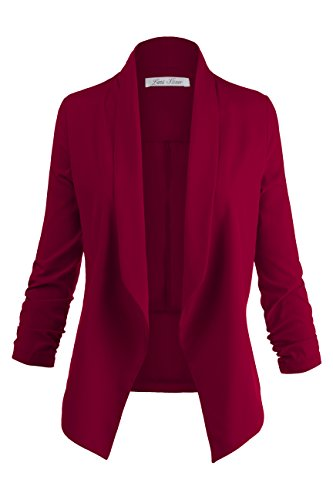 3 / 4 Cinched Sleeve Plus Size Open Front Blazer Jackets, 009 - Burgundy, US 2XL