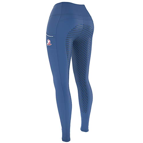 The Mane Range Horse Riding Pants for Women | Equestrian Breeches | Silicon Seat Riding Tights Navy Blue
