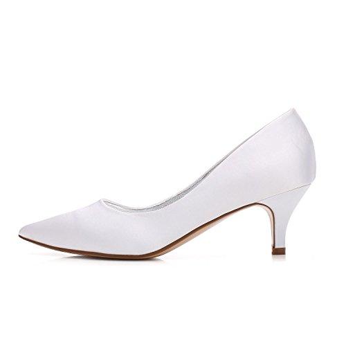 Noir Bleu de silver Robe amp; Femmes Blanc Soie L Stiletto Soirée Talons YC Heel Party Mariée wX6qqAO