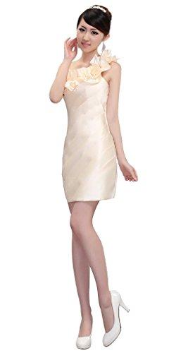 Les Femmes Drasawee Une Épaule Courte Soirée Bridemsmaid Bal Robe De Soirée Champagne Robes De Cokctail