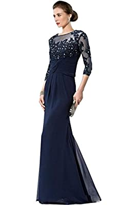 Newdeve Round Neck Maxi Blue Mother Of The Bride Dresses 3/4 Sleeves
