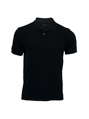 Le G Men's Classic Fit Short Sleeve Quick-Dry Mesh Polo Shirt (X-Large, Black)