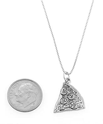 Sterling Silver One Sided Pizza Slice Necklace