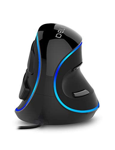 Delux Ergonomic Vertical Mouse, Wired Optical Mouse with 3 Adjustable DPI (800/1200/1600DPI), 6 Buttons and Removable Wrist Rest for PC Computer Laptop (M618Plus Single Color (Blue LED)-Black) (Humanized Mice)