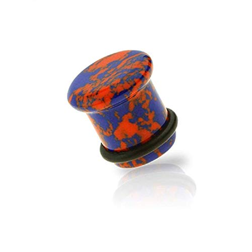 Covet Jewelry Semi Precious Swirl Marble Stone Single Flare Plug with O-Ring