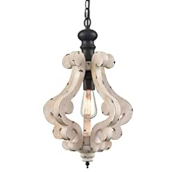 Farmhouse Ceiling Light Fixtures CLAXY Wooden Pendant Light Distressing Off-White Finish Farmhouse Chandelier farmhouse ceiling light fixtures