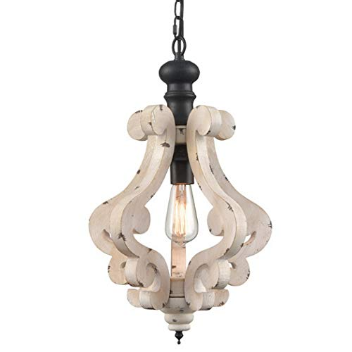 CLAXY Wooden Pendant Light Distressing Off-White Finish Farmhouse Chandelier