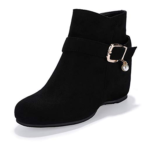 IDIFU Women's Candice-Pearl Buckle Strap Round Toe Short Boots Hidden Medium Wedge Heel Side Zipper Ankle Booties (Black Suede, 10 M US) Black Suede Buckled Ankle Bootie