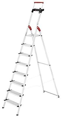 Hailo 8030-827 XXR Comfortline 8Step Folding Lightweight Aluminum Platform Step Ladder, Silver