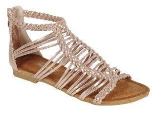 Emma Shoes - Emma Shoes Womens Open Toe Gladiator Sandal, Open Toe Crisscross Straps Flat Sandals (10) Rose/Gold