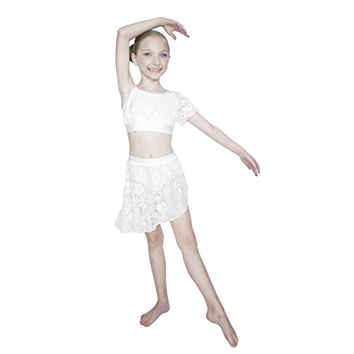 HDW DANCE Kids Girls White Lyrical 2 Pieces Costume Lace Overlay Crop Tops and Lace Skirts with Shorts (XXS, White)]()