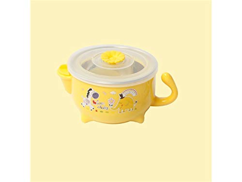 Wesource Useful Animal Pattern Baby Feeding Bowl Water Injection Bowl Anti-Scald Stainless Steel Children Dish Insulation Bowl Kids Students(Yellow) by Wesource