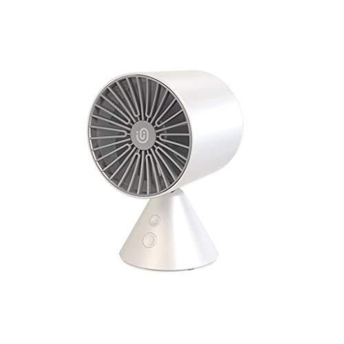 CMrtew Desktop Automatic Shaking Head Mini Fan Office Desk Silent Turbo Fan USB Double-Drive Supercharged Impeller (White)