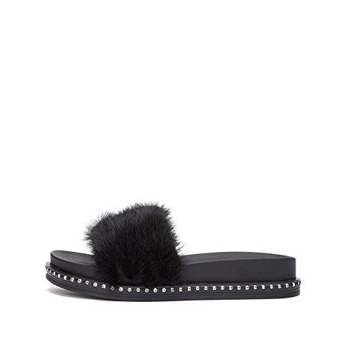 tacco DHG donna basso 34 Pantofole Nero Tacchi da tacco alti Sandali casual con piatti estivi moda basso Sandali Sandali alla a FqIZRa1rFw