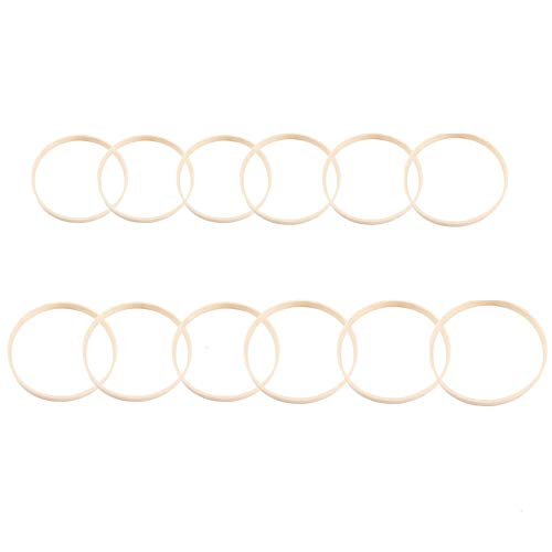Fasdu 12PCS Wooden Bamboo Dreamcatcher Rings Hoops Round for Dream Catcher Home Craft DIY,Wedding Decoration(6pcs 6-inch and 6pcs 8-inch)