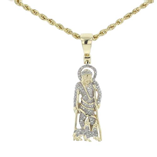 (Midwest Jewellery 10K Gold Saint Lazarus Pendant On Crutches with Dogs Status 0.28ctw Diamond 39mm)