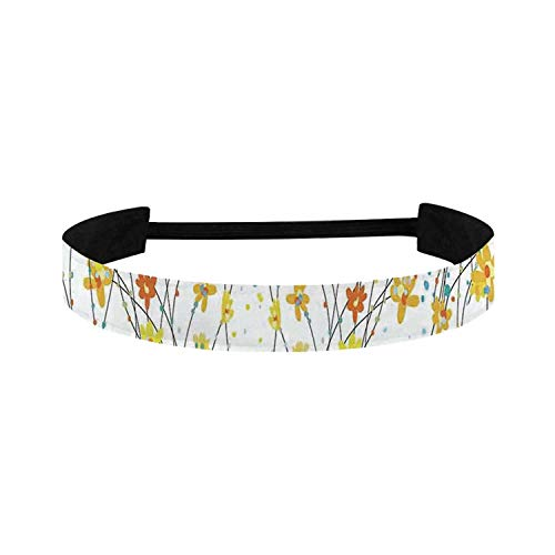C COABALLA Daffodil Simple Sports Headband,Floral Banner Daffodils Botanical Blooming Spring Gardening Flourishing Design for Sports,15