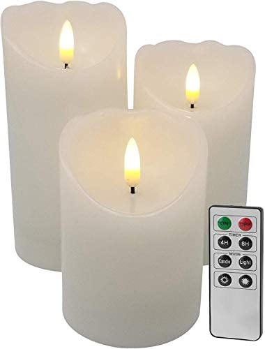 EGI – Set of 3 Flickering Real Wick Flameless Candles with Remote Control and Timer – Realistic Led Candles – Made with Real Wax