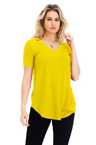 - Relaxed Fit Premium Short Sleeve V-Neck Round Hem Top Shirts Yellow 2X