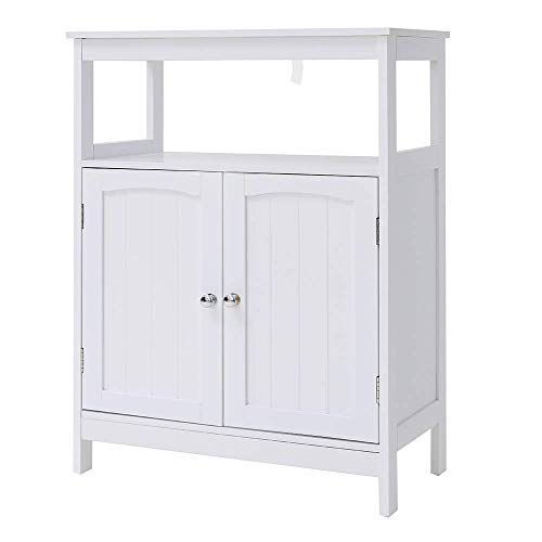- IWELL Bathroom Floor Storage Cabinet with 1 Adjustable Shelf, 3 Heights Available, Free Standing Kitchen Cupboard, Wooden Storage Cabinet with 2 Doors, Office Furniture, White YSG002B