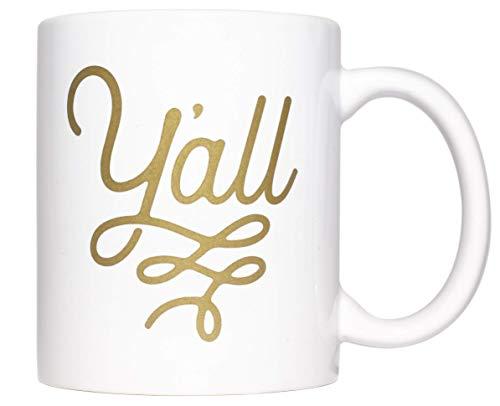 Mug Houston - Y'all Texas Mug Gold 11 ounce Coffee Mug with Texas Gift Box