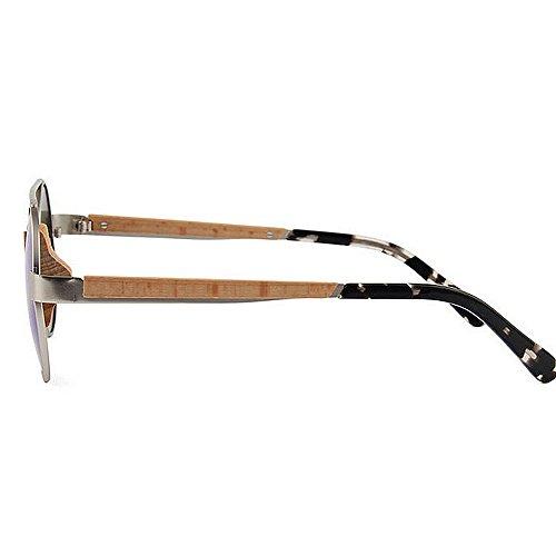 sol aire de de Retro Playa sol hombres sol retro de para de de metálico UV sol polarizadas de Gafas Protección Pesca redondas Gafas Conducir Gafas al d Azul madera clásicas marco esquí de libre Gafas Gafas wqK7rqaCE